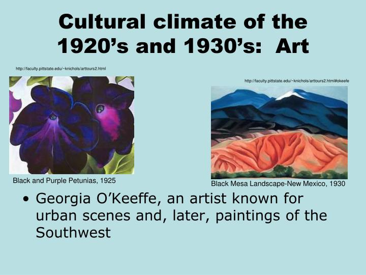Cultural climate of the 1920's and 1930's:  Art