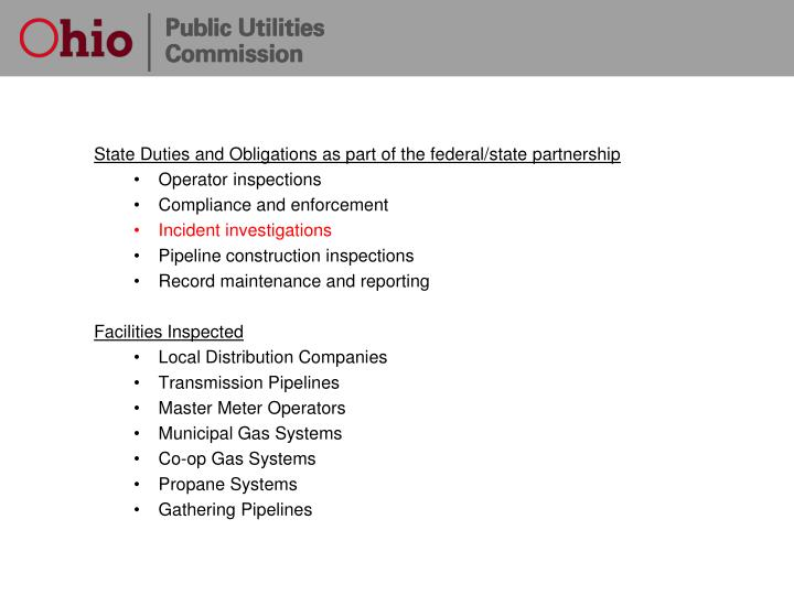 State Duties and Obligations as part of the federal/state partnership