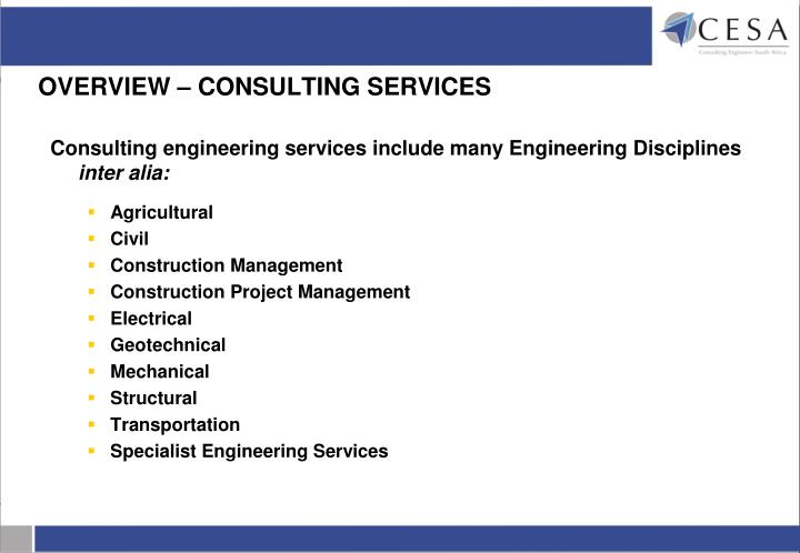 OVERVIEW – CONSULTING SERVICES