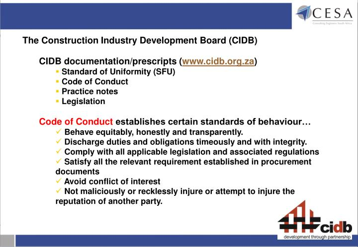 The Construction Industry Development Board (CIDB)