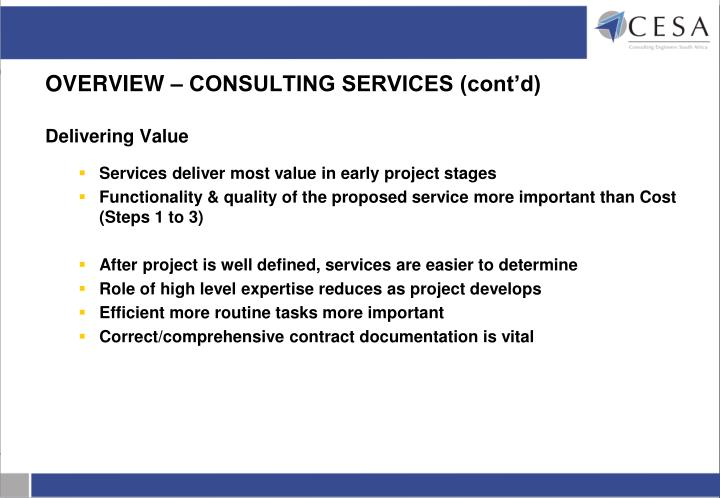 OVERVIEW – CONSULTING SERVICES (cont'd)