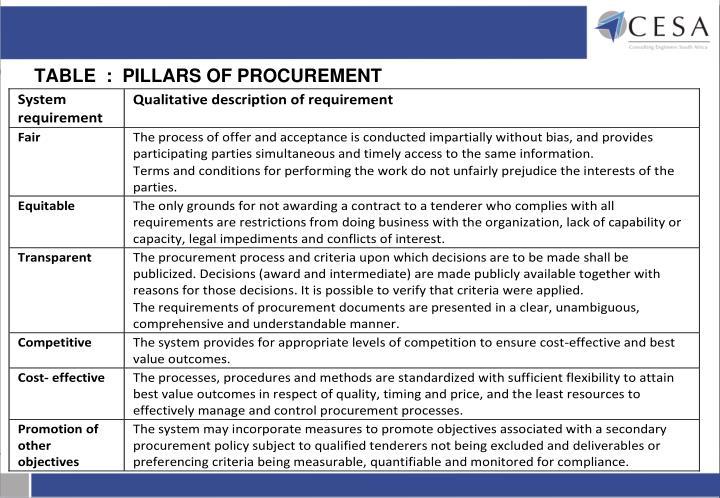 TABLE  :  PILLARS OF PROCUREMENT
