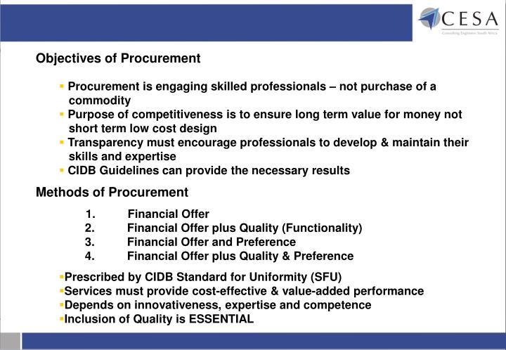 Objectives of Procurement