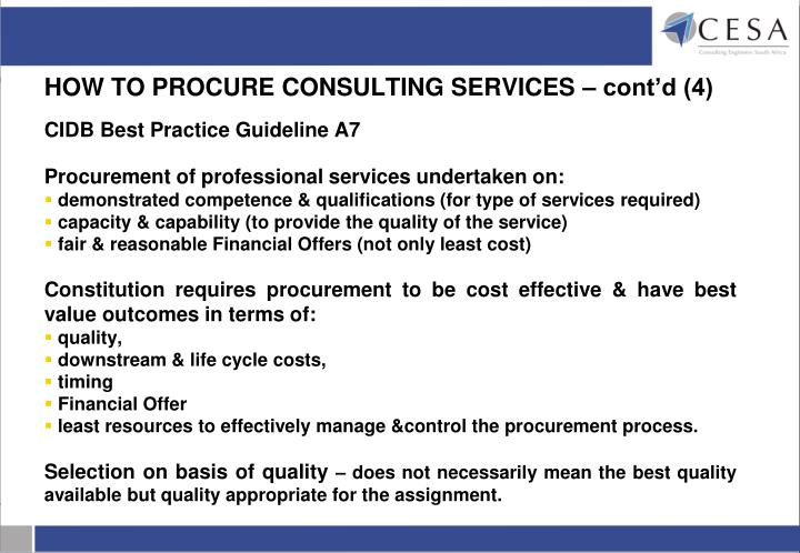 HOW TO PROCURE CONSULTING SERVICES – cont'd (4)