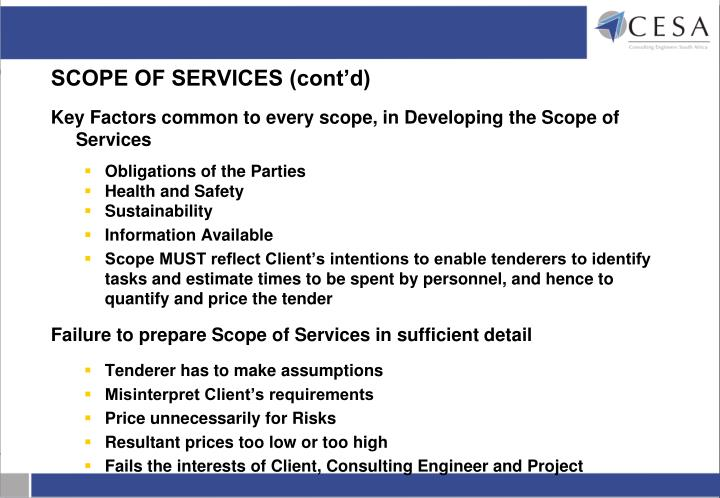SCOPE OF SERVICES (cont'd)