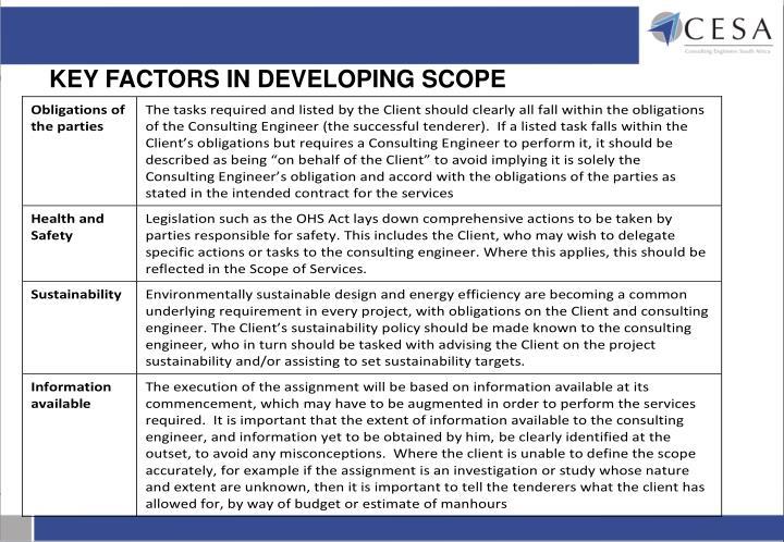 KEY FACTORS IN DEVELOPING SCOPE