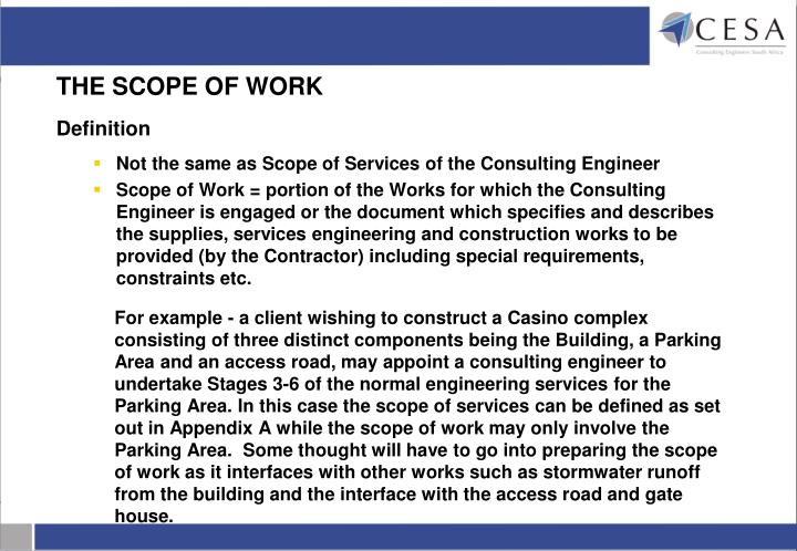 THE SCOPE OF WORK