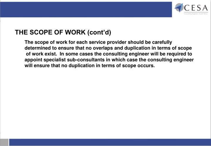 THE SCOPE OF WORK (cont'd)