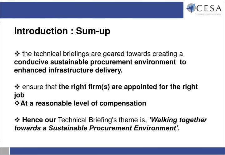 the technical briefings are geared towards creating a