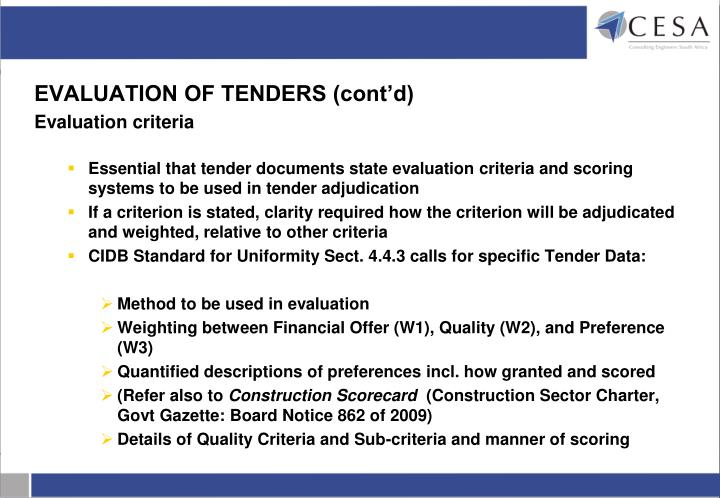 EVALUATION OF TENDERS (cont'd)