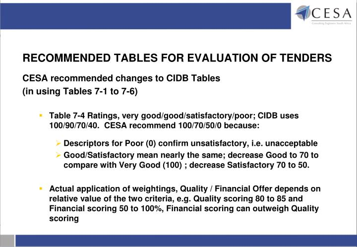 RECOMMENDED TABLES FOR EVALUATION OF TENDERS
