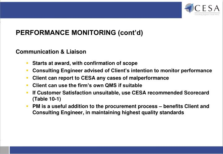 PERFORMANCE MONITORING (cont'd)