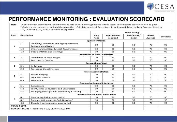 PERFORMANCE MONITORING : EVALUATION SCORECARD