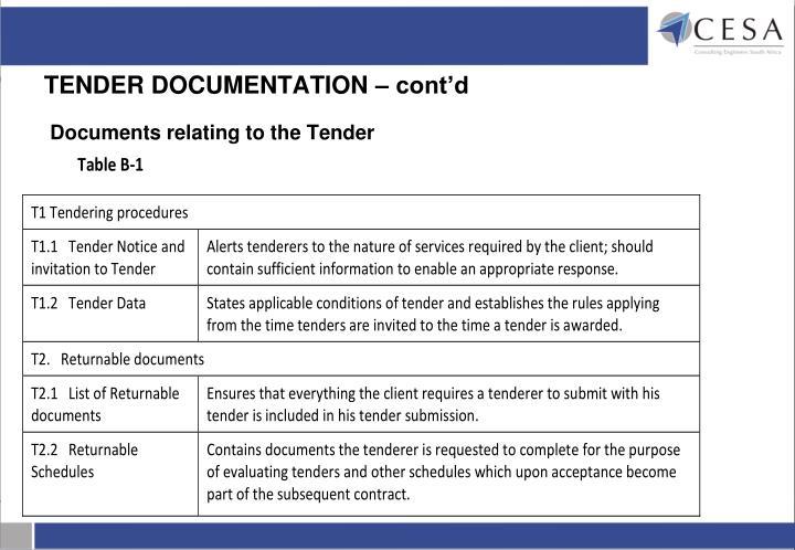 TENDER DOCUMENTATION – cont'd