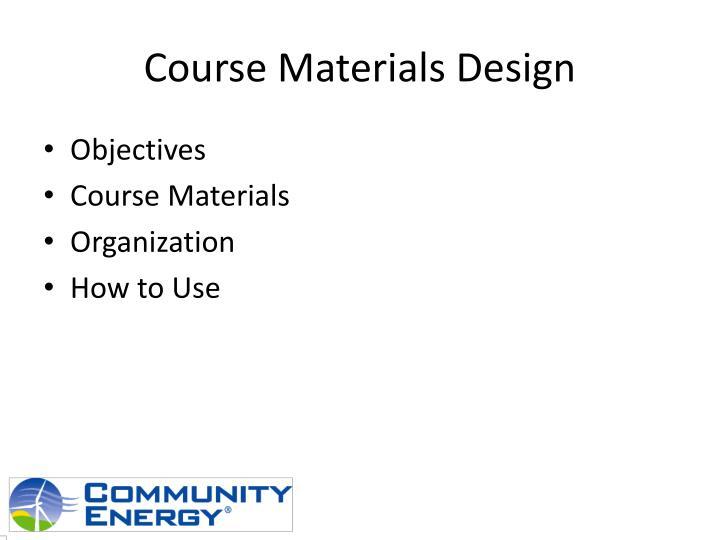 Course Materials Design