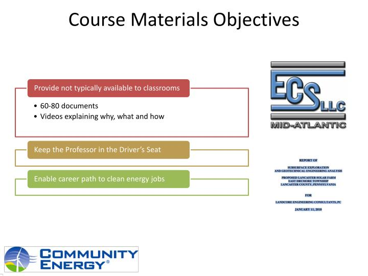 Course Materials Objectives