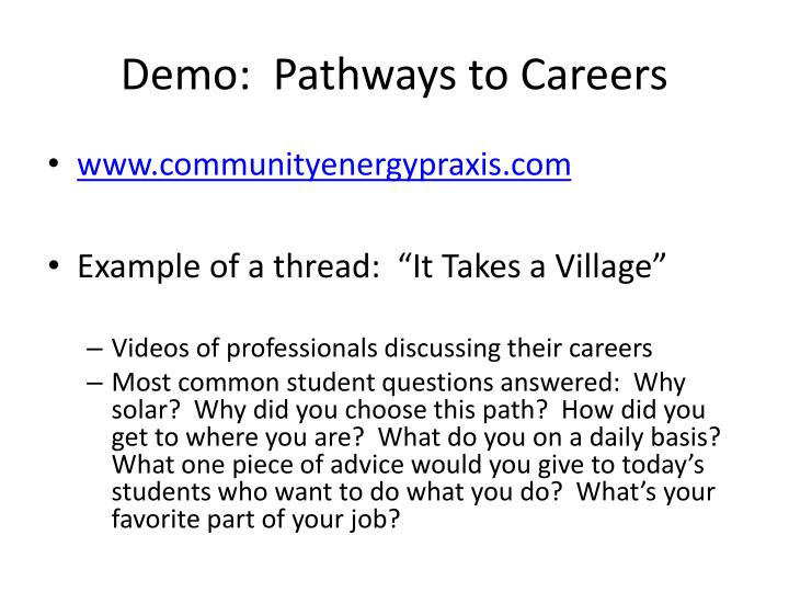 Demo:  Pathways to Careers