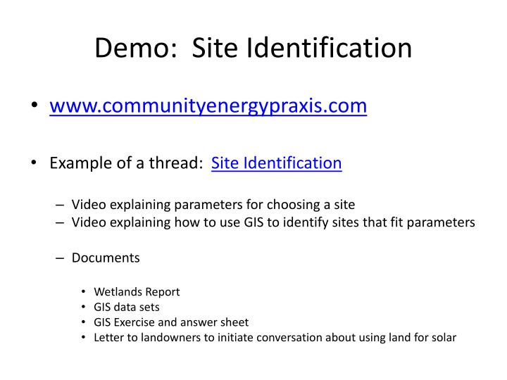 Demo:  Site Identification