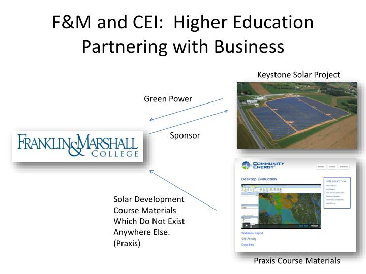 F&M and CEI:  Higher Education Partnering with Business