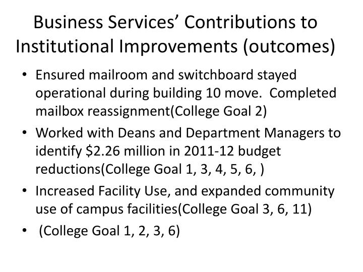 Business Services' Contributions to Institutional Improvements (outcomes)