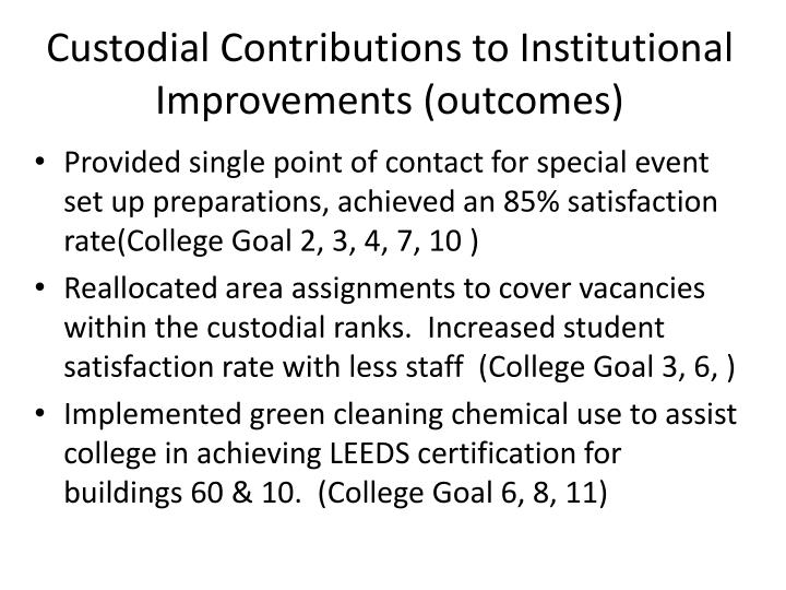 Custodial Contributions to Institutional Improvements (outcomes)