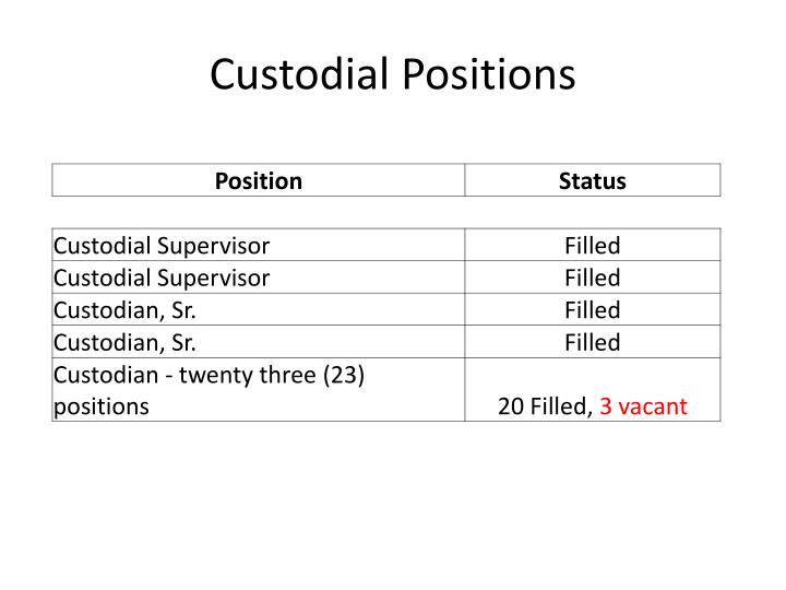 Custodial Positions