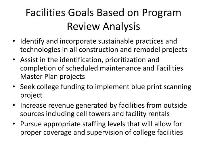 Facilities Goals Based on Program Review Analysis