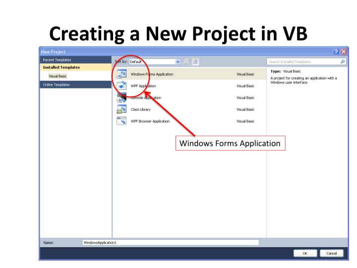 Creating a New Project in VB