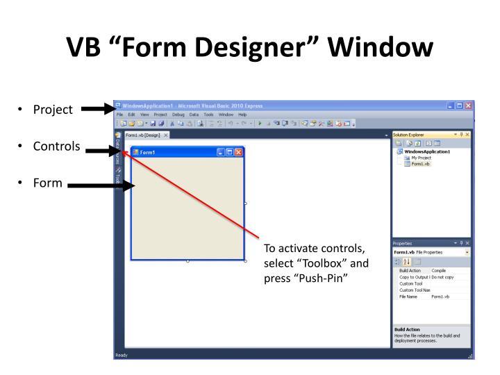 """VB """"Form Designer"""" Window"""
