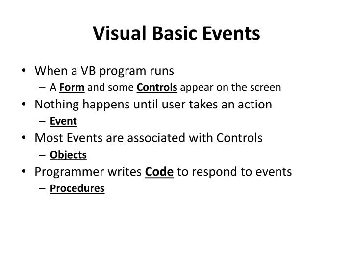 Visual Basic Events