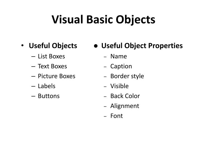 Visual Basic Objects