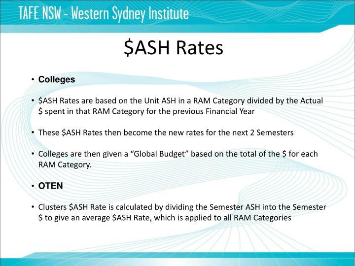 $ASH Rates