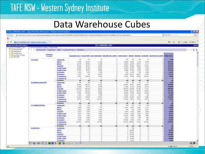 Data Warehouse Cubes