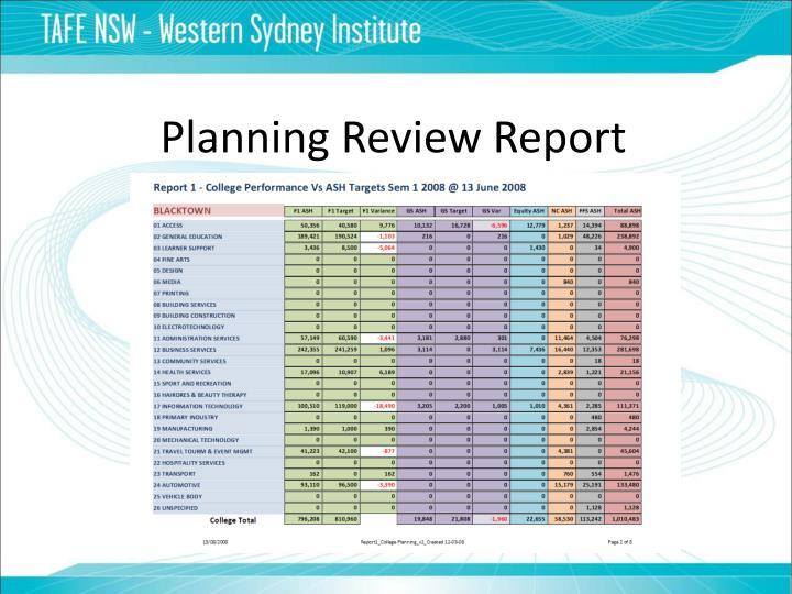 Planning Review Report