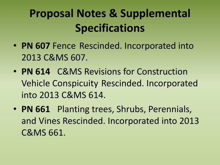 Proposal Notes & Supplemental Specifications