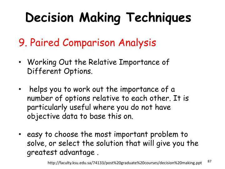 Decision Making Techniques