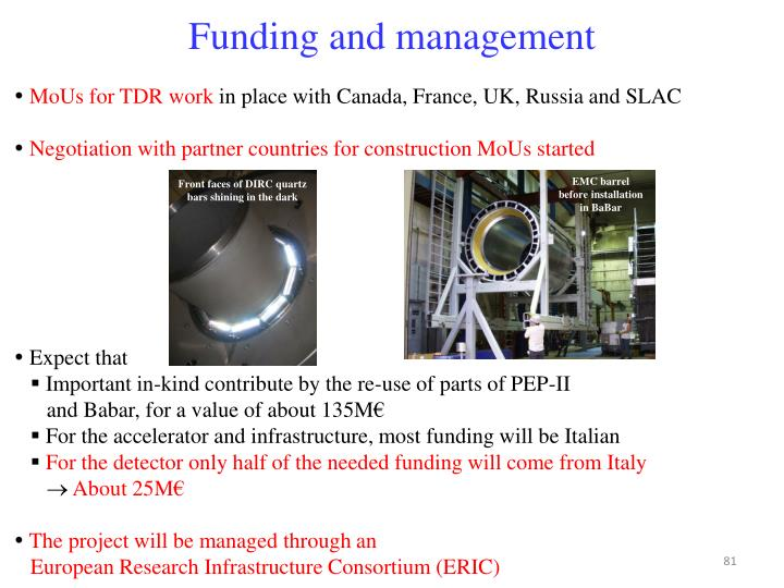 Funding and management