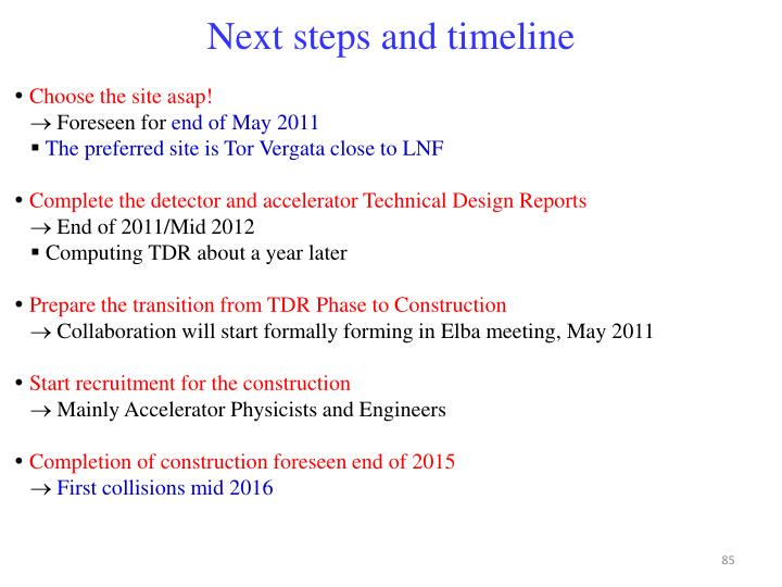 Next steps and timeline