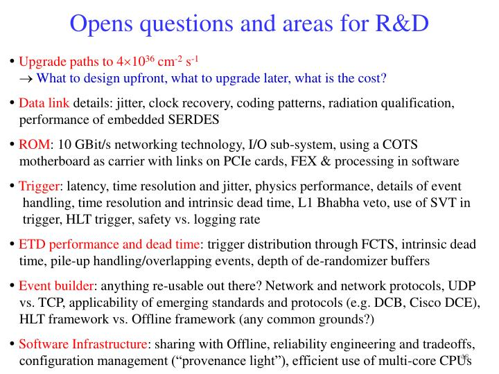 Opens questions and areas for R&D