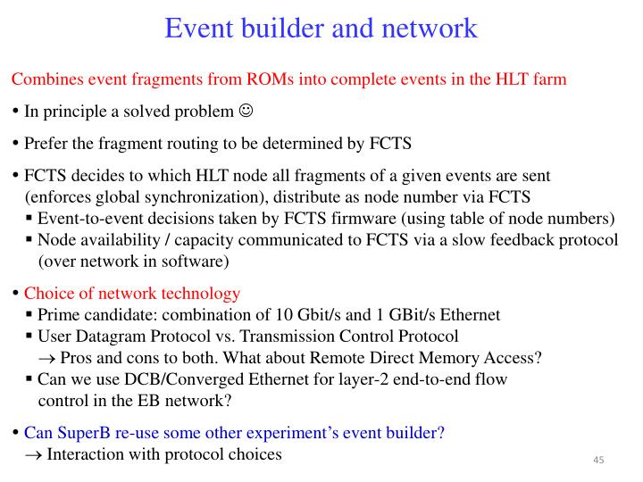 Event builder and network