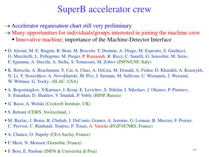 SuperB accelerator crew
