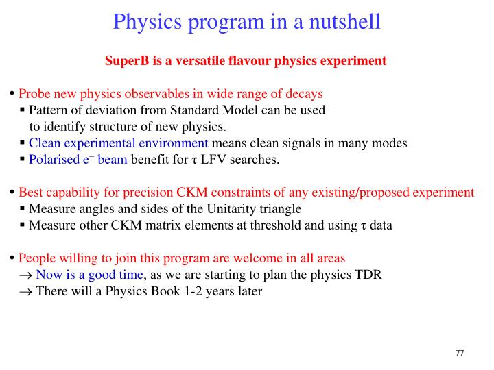 Physics program in a nutshell
