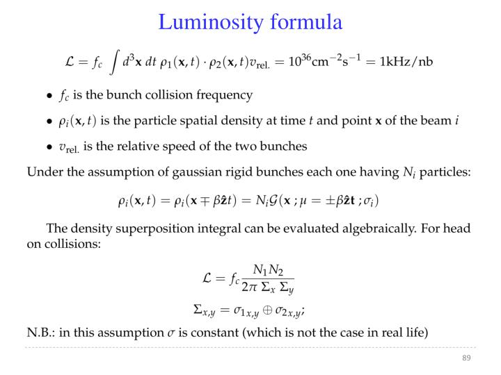 Luminosity formula