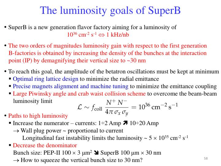 The luminosity goals of SuperB