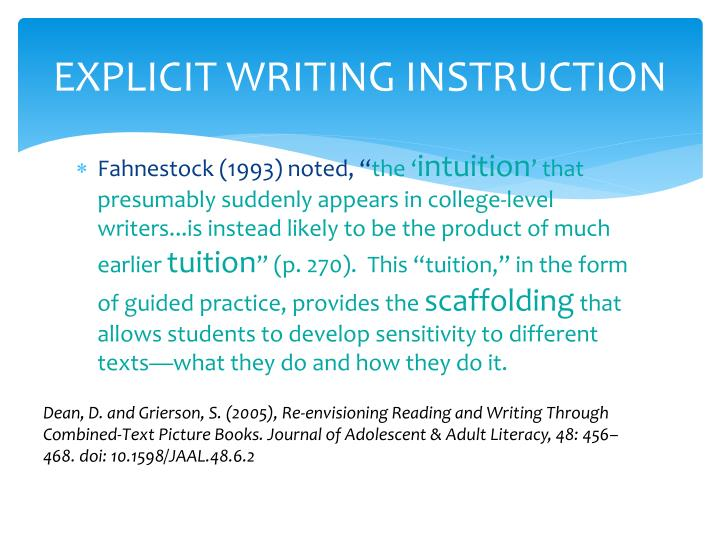 EXPLICIT WRITING INSTRUCTION