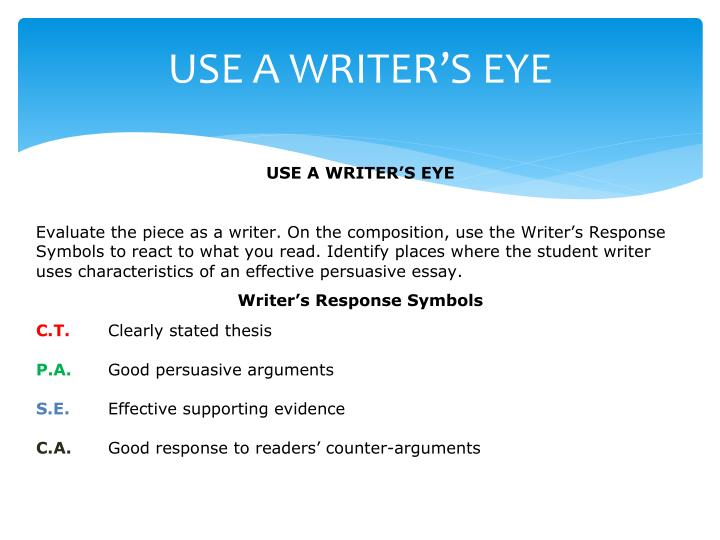 USE A WRITER'S EYE