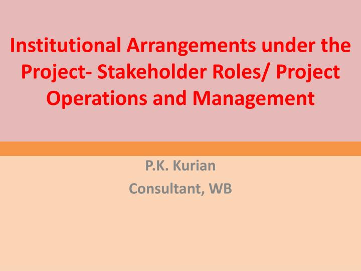 Institutional arrangements under the project stakeholder roles project operations and management