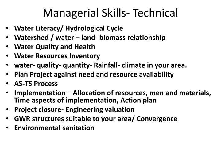 Managerial Skills- Technical