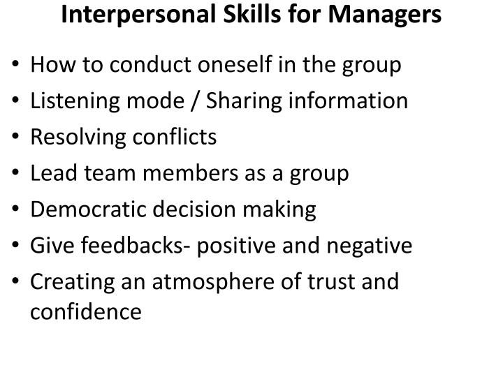 Interpersonal Skills for Managers
