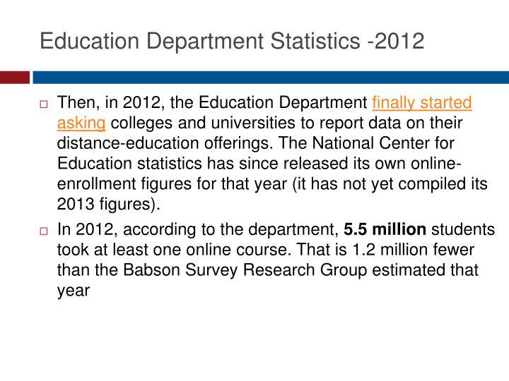 Education Department Statistics -2012